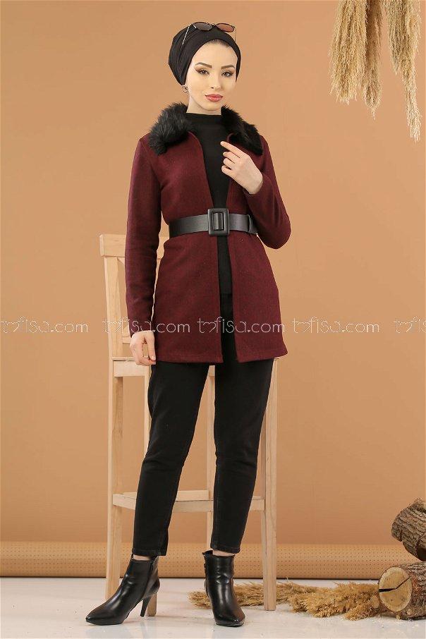 Jacket Details Fur claret red - 8280