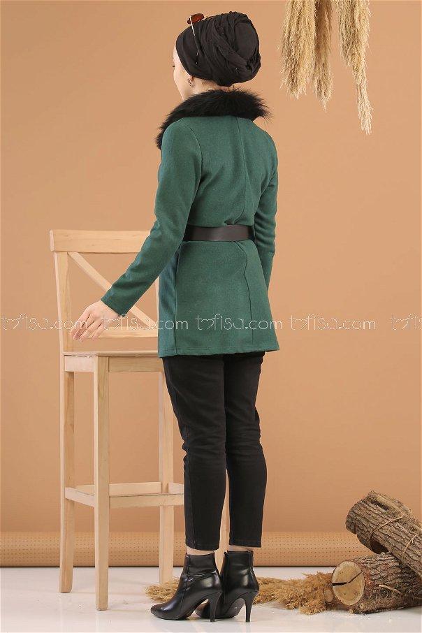 Jacket Details Fur Emerald - 8280