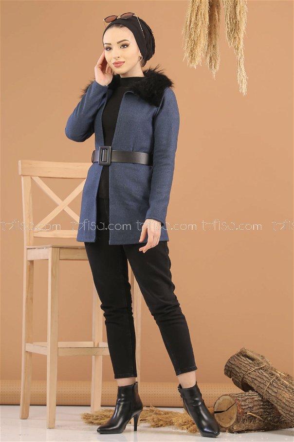 Jacket Details Fur navy blue - 8280