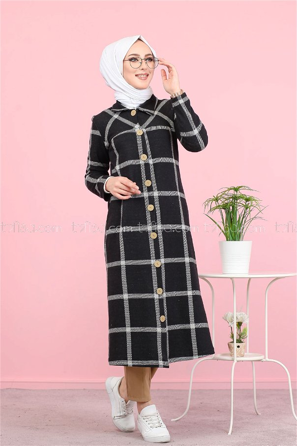 Jacquard Dress Black Grey - 8439