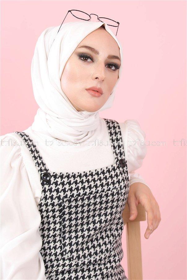Salopet Beyaz Siyah - 3010