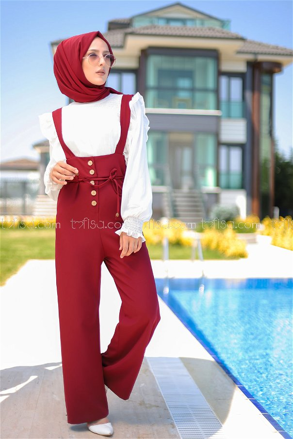 Jumpsuit Claret Red - 8552