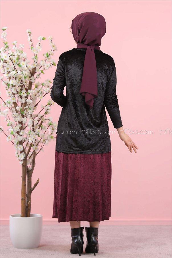 Kadife Tunik Etek Siyah Mor - 8247