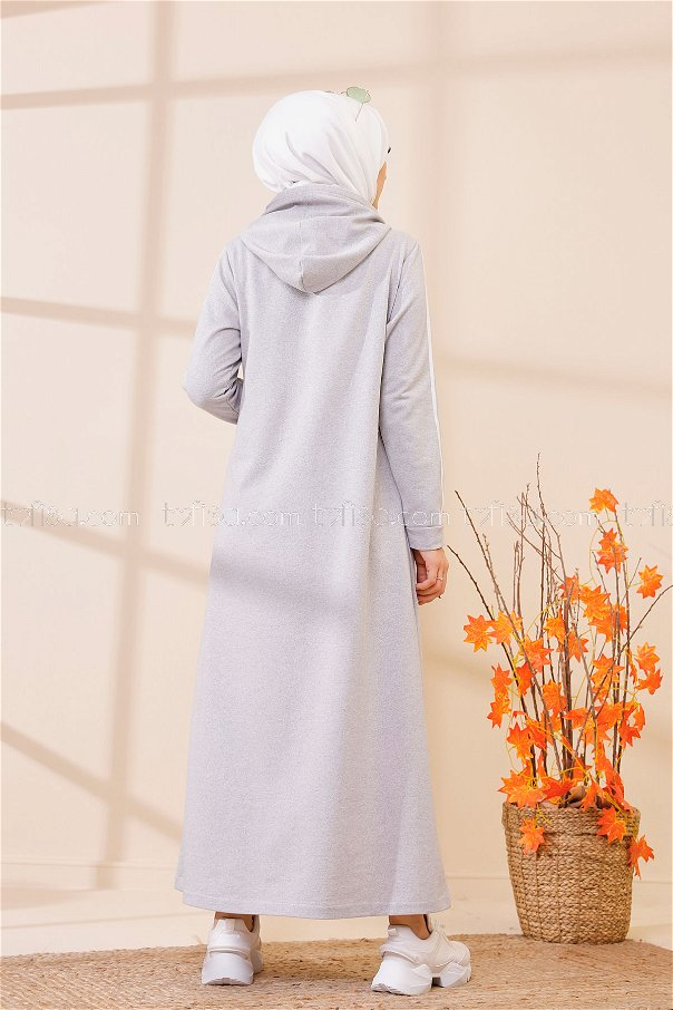 Kapşonlu Baskılı Elbise Gri - 3395