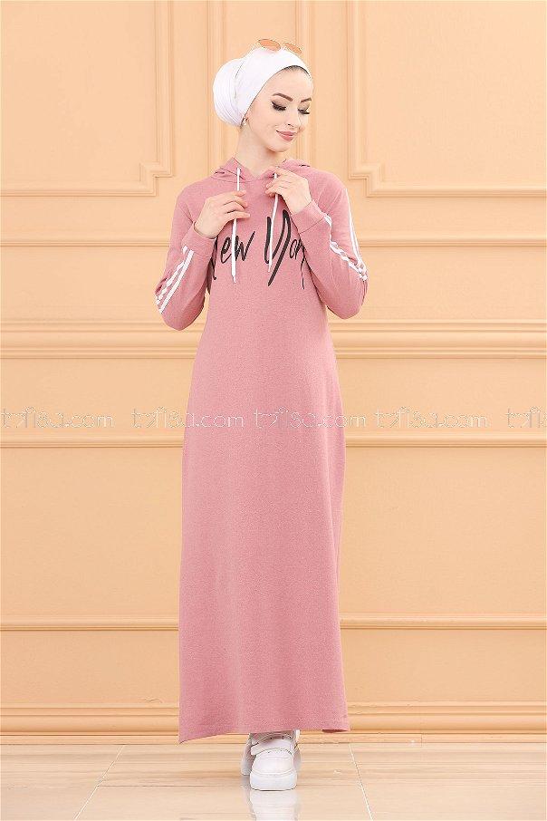 Kapşonlu Baskılı Elbise GUL KURUSU - 3395