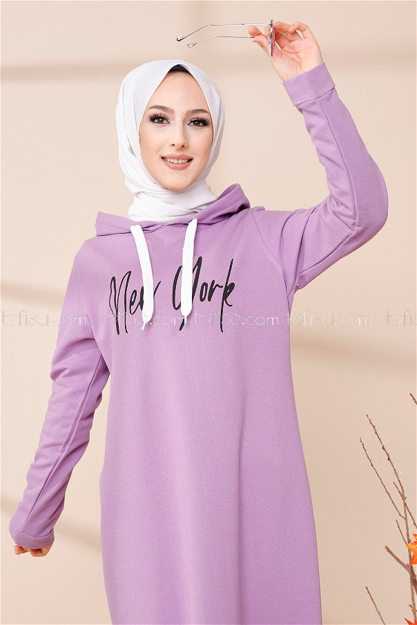 Kapşonlu Baskılı Elbise Lıla - 3395