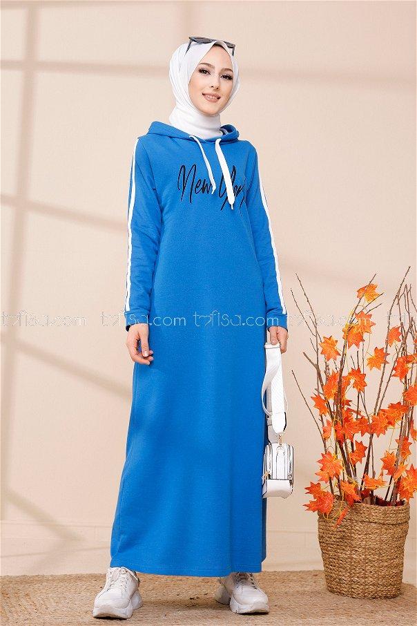 Kapşonlu Baskılı Elbise Saks - 3395