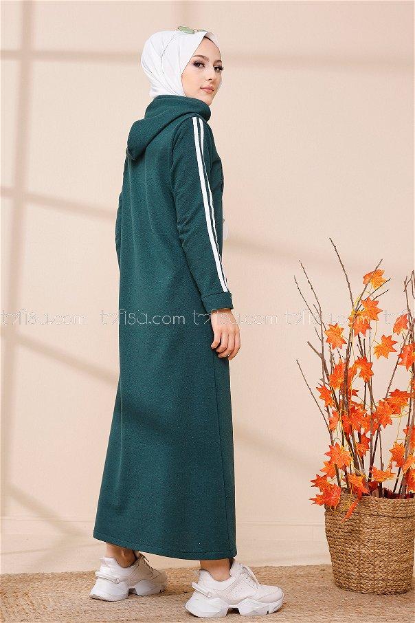 Kapşonlu Baskılı Elbise Zumrut - 3395