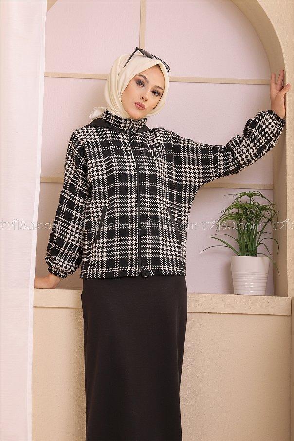 Kapşonlu Ceket Siyah Beyaz - 3404