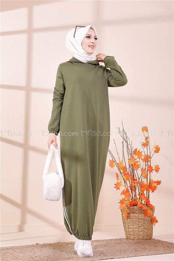 Kapşonlu Elbise Açık Haki - 5257