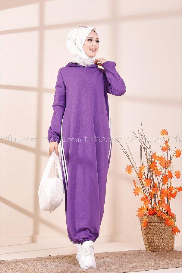 Kapşonlu Elbise Açık Mor - 5257
