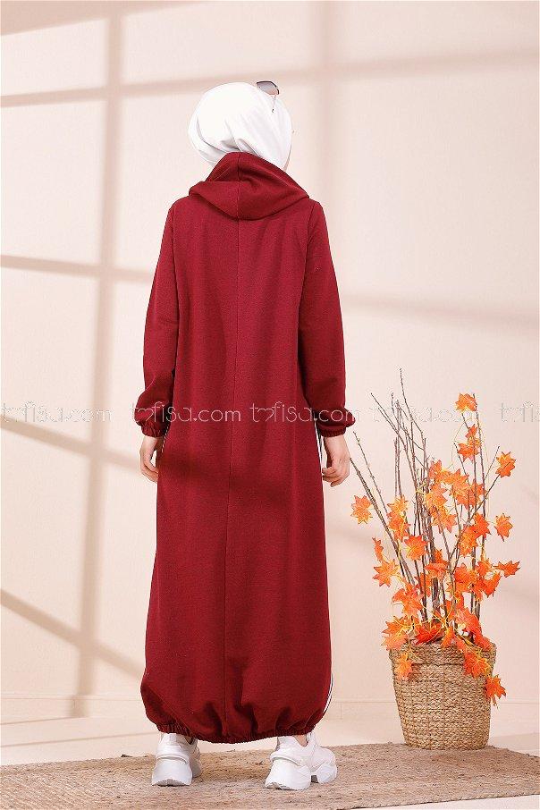 Kapşonlu Elbise Koyu Bordo - 5257