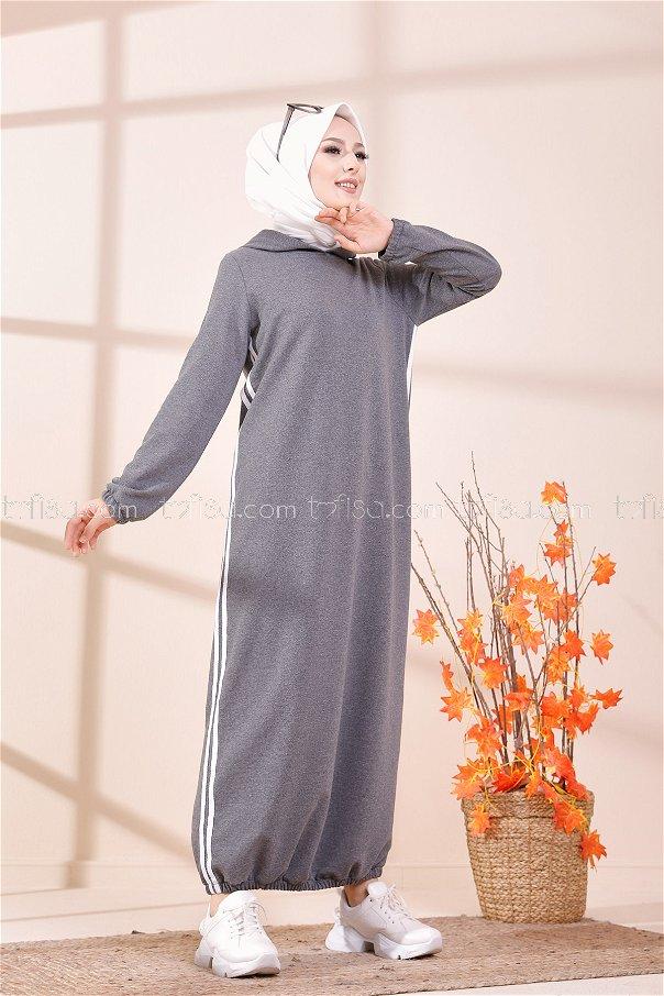 Kapşonlu Elbise Koyu Gri - 5257