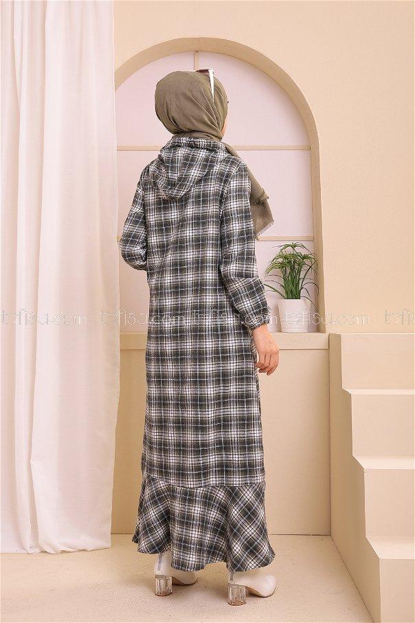 Kapşonlu Elbise Lacivert Haki - 3347