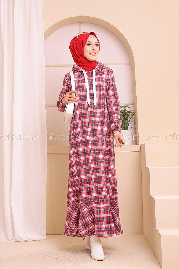 Kapşonlu Elbise Lacivert Kırmızı - 3347