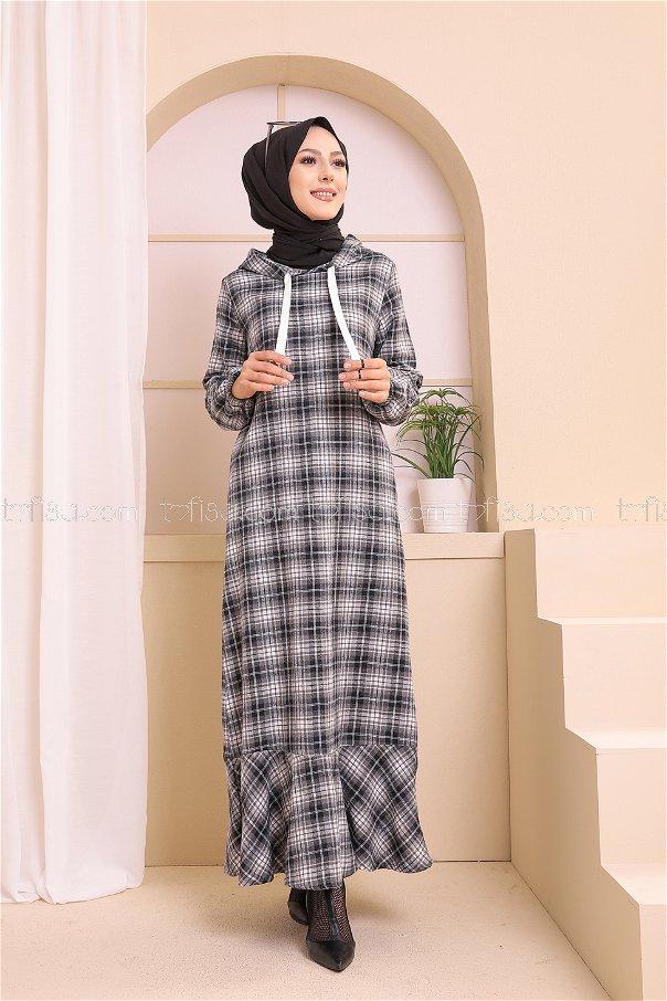 Kapşonlu Elbise Siyah Gri - 3347