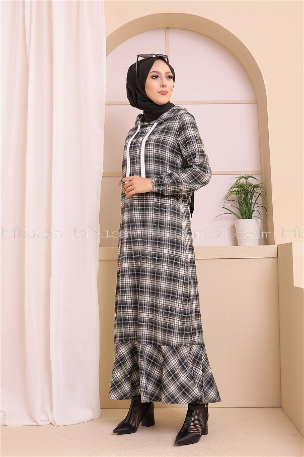 Kapşonlu Elbise Siyah Haki - 3347