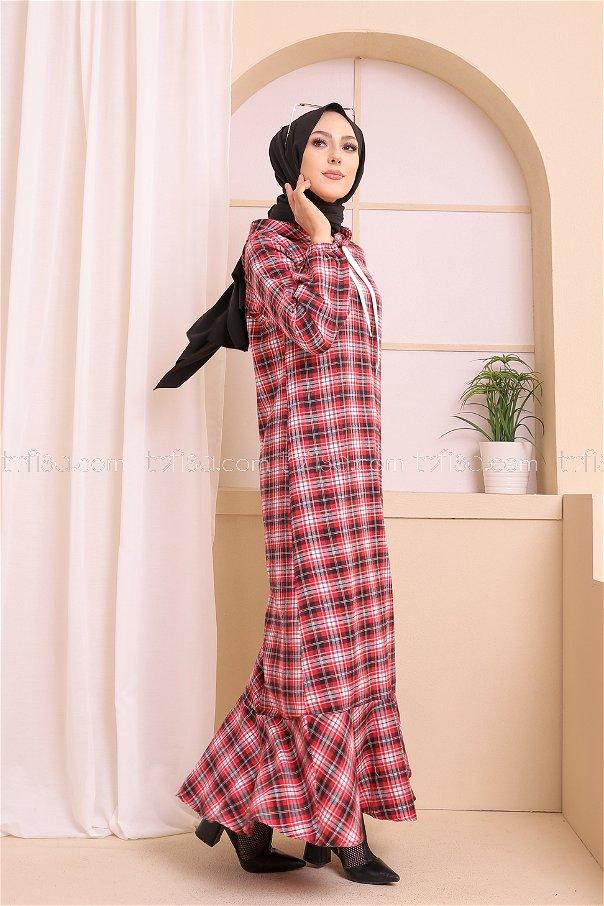 Kapşonlu Elbise Siyah Kırmızı - 3347
