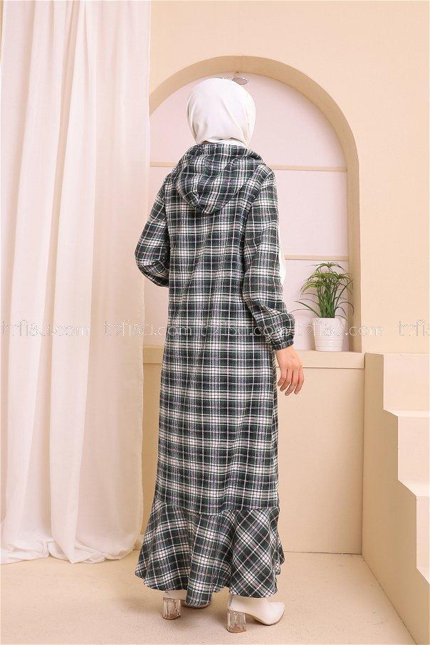 Kapşonlu Elbise Siyah Zümrüt - 3347