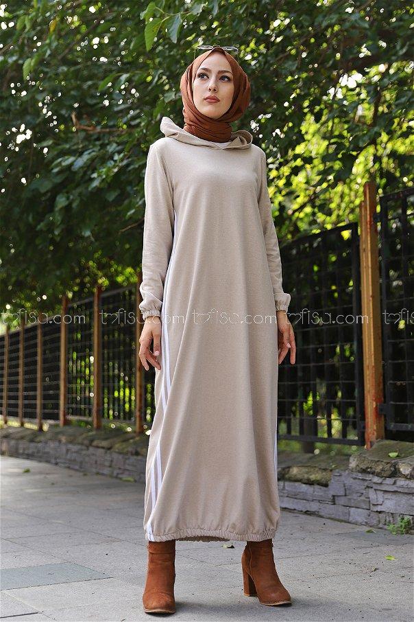 Kapşonlu Elbise Taş - 5257