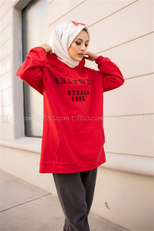Kapşonlu Sweat Kırmızı - 3322