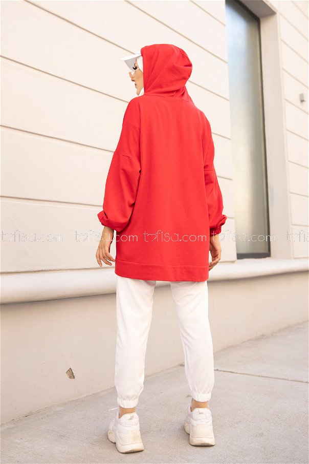 Kapşonlu Sweat Kırmızı - 8617
