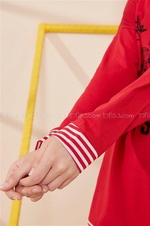 Kapsonlu Sweat Kırmızı - 8707