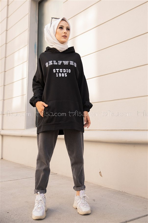Kapşonlu Sweat Siyah - 3322