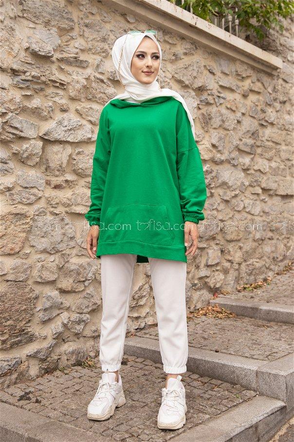 Kapşonlu Sweat Yeşil - 3293