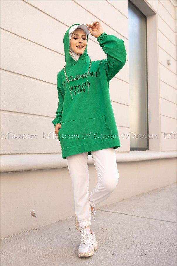Kapşonlu Sweat Yeşil - 3322