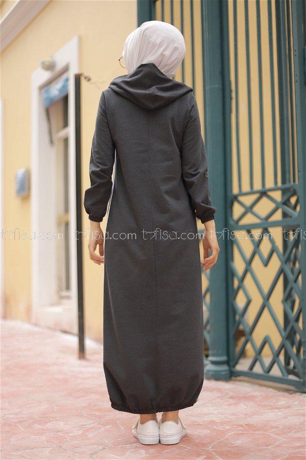 Kapşonlu Elbise Antrasit - 5257