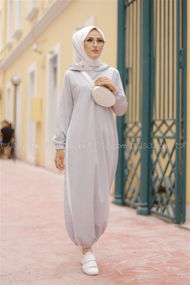 Kapşonlu Elbise Gri - 5257