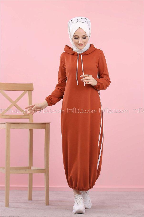 Kapşonlu Elbise Kiremit - 5257