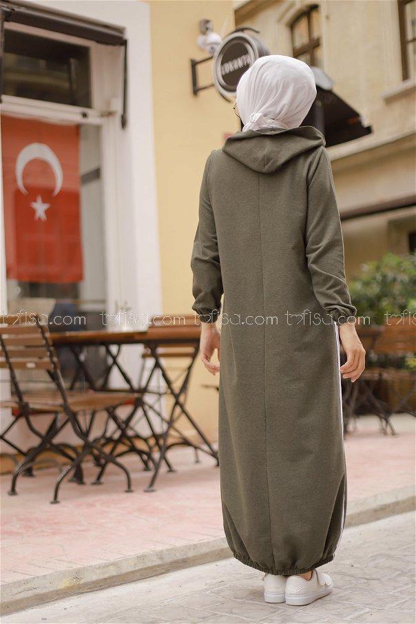 Kapşonlu Elbise Haki - 5257