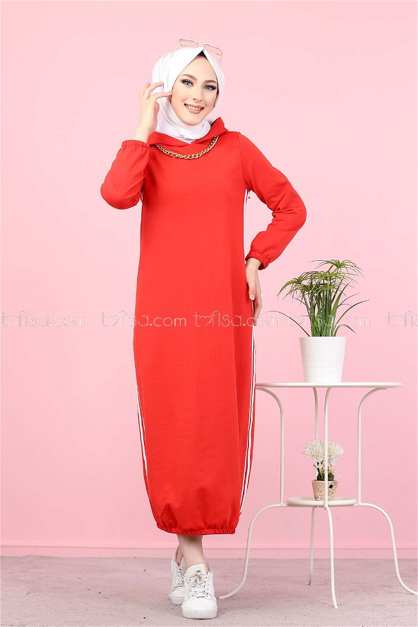 Kapşonlu Elbise Kırmızı - 5257