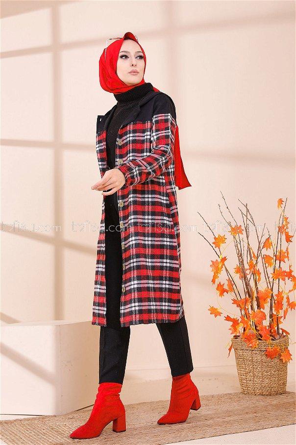 Kapşonlu Tunik Kırmızı Antrasit - 8609