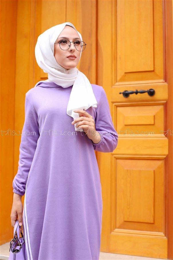 Kapşonlu Elbise Lila - 5257