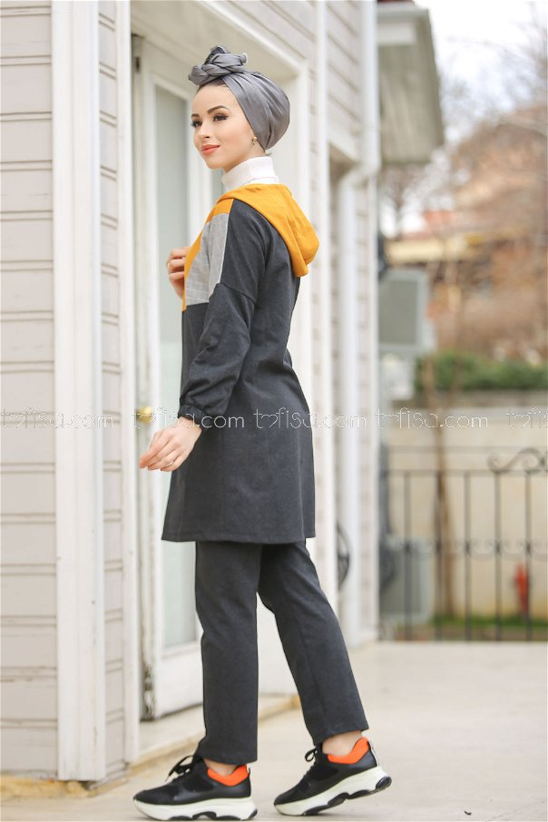 Kapşonlu Tunik Pantolon Antrasit Hardal- 4118-