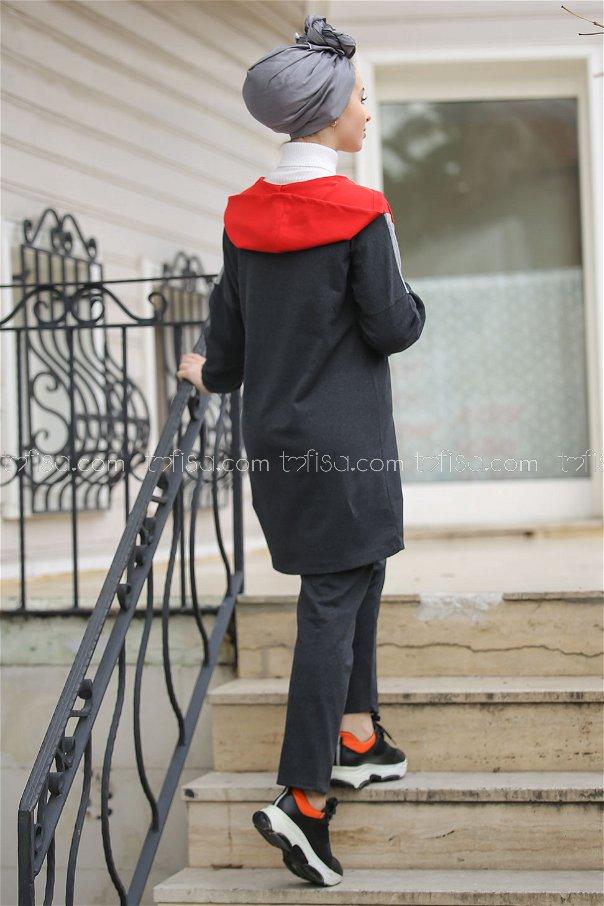 Kapşonlu Tunik Pantolon Antrasit Kırmızı- 4118