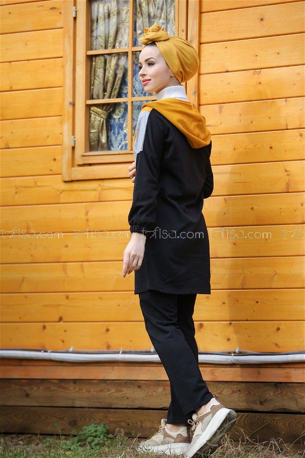Kapşonlu Tunik Pantolon Siyah Hardal - 4118