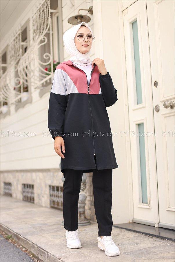 Kapşonlu Tunik Pantolon Gül - 4129
