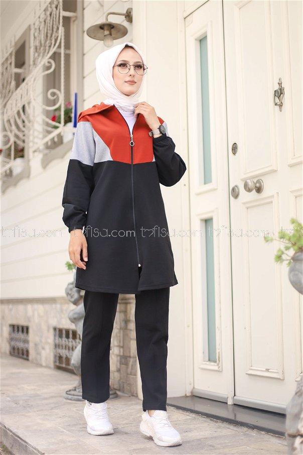 Kapşonlu Tunik Pantolon Kiremit - 4129