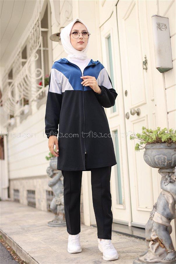 Kapşonlu Tunik Pantolon İndigo - 4129