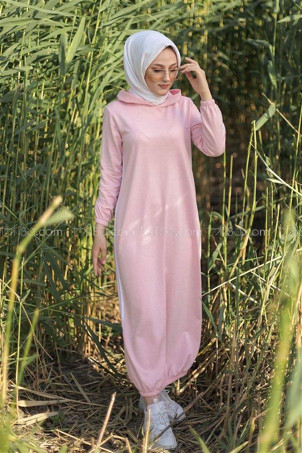 Kapşonlu Elbise Pudra - 5257