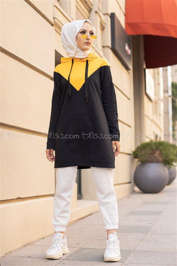 Kapşonlu Tunik Sarı - 3235