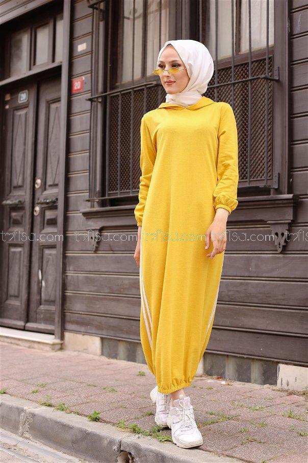 Kapşonlu Elbise Sarı - 5257