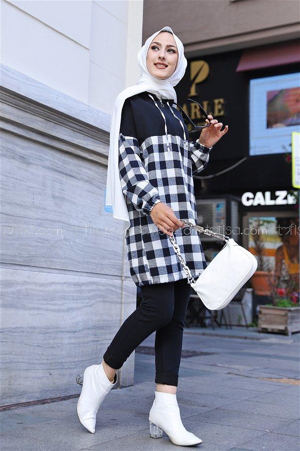 Kapşonlu Tunik Siyah Beyaz - 3300