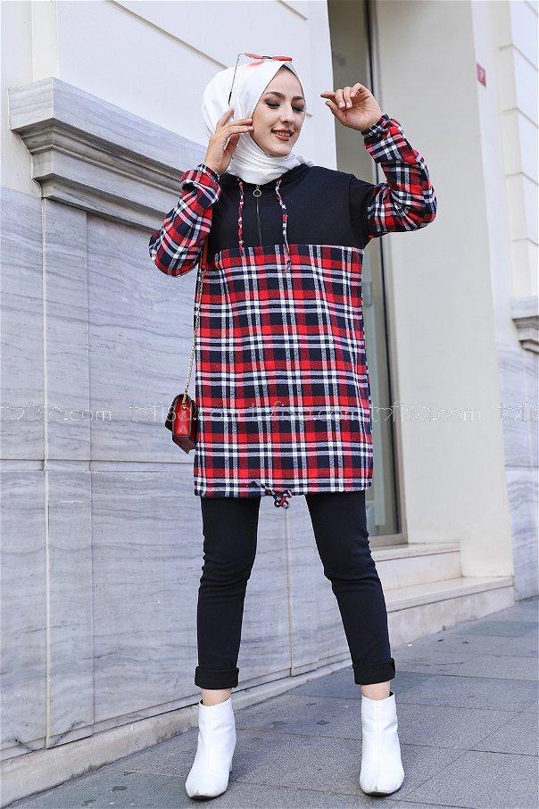 Kapşonlu Tunik Siyah Kırmızı - 3300