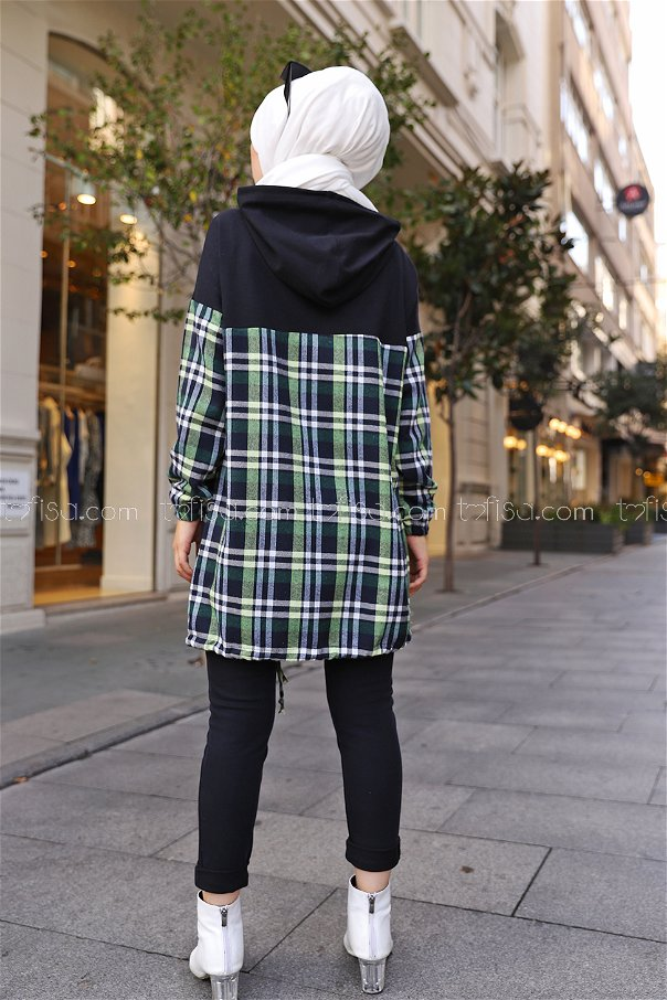 Kapşonlu Tunik Siyah Yeşil - 3300