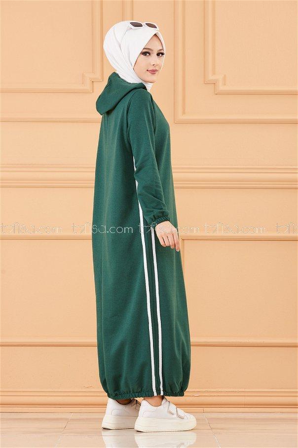 Kapşonlu Elbise Zümrüt - 5257